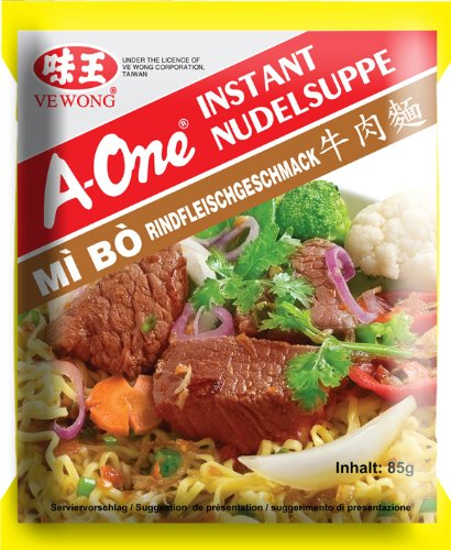A-ONE Instantnudeln, Rind, 10er Pack (10 x 85 g Packung) von A-One