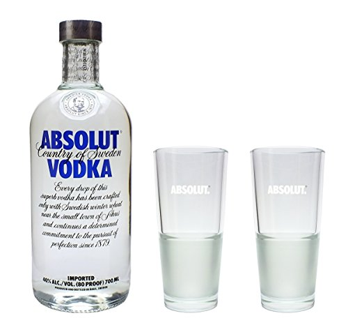 Absolut Vodka 40% 0,7l Set mit 2 Longdrink Gläsern 2cl/4cl von Absolut