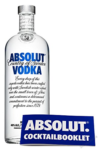 Absolut Vodka 40% 1,0l inkl. Cocktailbooklet PiHaMi®Gastro von Absolut