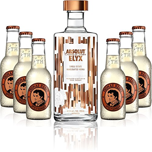 Moscow Mule Set - Absolut Elyx Vodka 70cl (42,3% Vol) + 6x Thomas Henry Spicy Ginger 200ml von Absolut