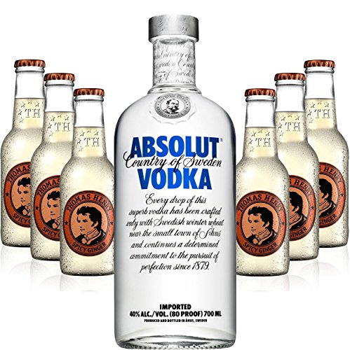 Moscow Mule Set - Absolut Vodka 70cl (40% Vol) + 6x Thomas Henry Spicy Ginger 200ml von Absolut