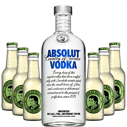 Vodka Lemon Set - Absolut Vodka 70cl (40% Vol) + 6x Thomas Henry Bitter Lemon 200ml von Absolut