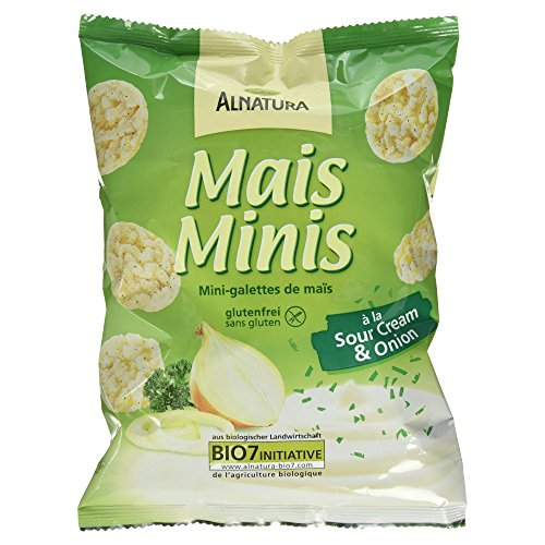 Alnatura Bio Mini Maiswaffeln Sour Cream & Onion, glutenfrei, 10er Pack (10 x 50 g) von Alnatura