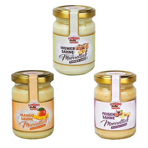 Altenburger Original Frucht Sahne Meerrettich Set, 3x 140g im Glas, in den Sorten Feige, Mango und Ingwer von Altenburger Original