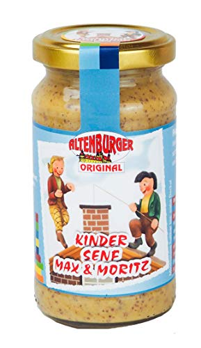 Altenburger Original Kinder Senf Max & Moritz blau, 200ml im Glas, pikant süßer Senf, ideal für jede Kinderparty von Altenburger Original