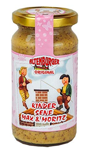Altenburger Original Kinder Senf Max & Moritz rosa, 200ml im Glas, pikant süßer Senf, ideal für jede Kinderparty von Altenburger Original