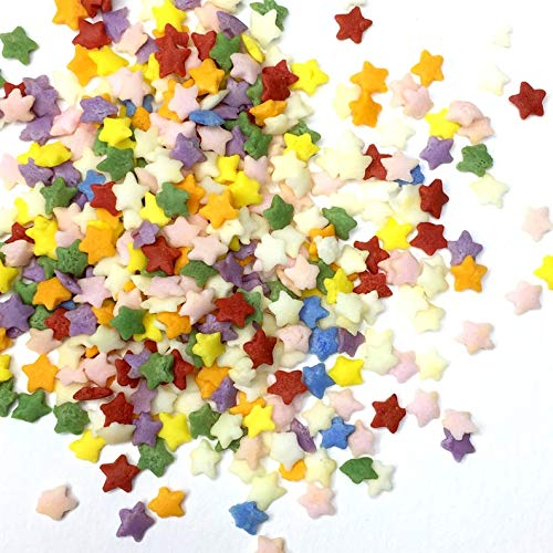 Regenbogen-Konfetti Stars Mix Sprinkles geeignet für Veganer Gluten Dairy Free Blue Green Orange Yellow Pink Star Cup Cake Baking Geschenk (50gr) von Baking Time Club