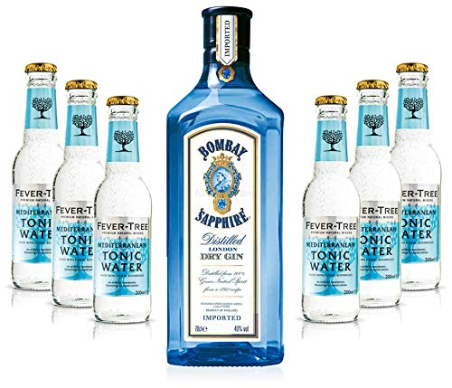 Gin Tonic Set - Bombay Sapphire 70cl (40% Vol) + 6x Fever Tree Mediterranean Tonic Water 200ml + Siegfried Gin mini 4cl (41% Vol) von Bombay Sapphire