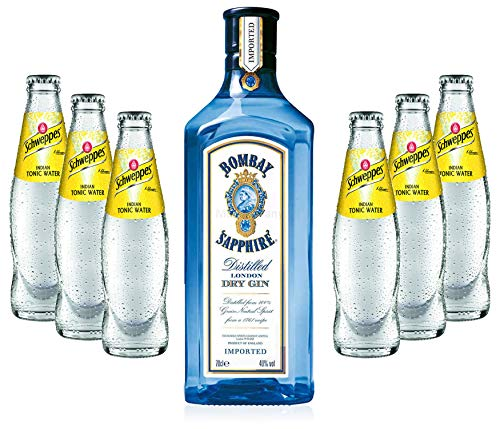 Gin Tonic Set - Bombay Sapphire 70cl (40% Vol) + 6x Schweppes Tonic Water 200ml + Siegfried Gin mini 4cl (41% Vol) von Bombay Sapphire