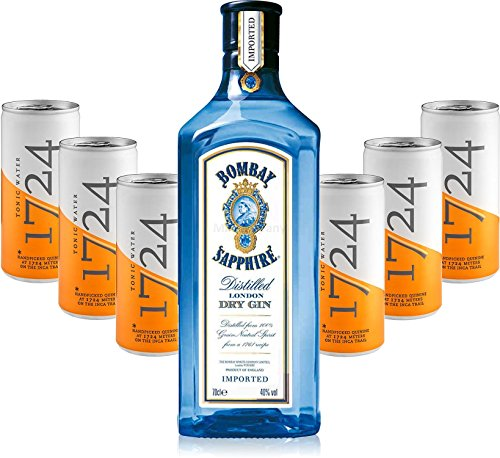 Gin Tonic Set - Bombay Sapphire London Dry Gin 70cl (40% Vol) + 6x 1724 Tonic Water 200ml Dosen inkl. Pfand -[Enthält Sulfite] von Bombay Sapphire