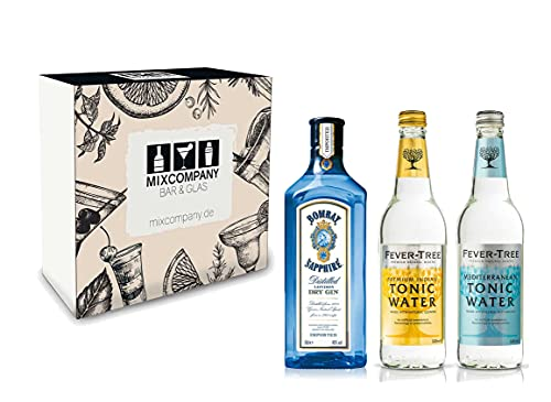 Gin Tonic Set Geschenkset - Bombay Sapphire London Dry Gin 70cl (40% Vol) + 2x Fever Tree Tonic Water Mix je 500ml -[Enthält Sulfite] von Bombay Sapphire