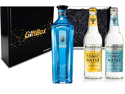 Gin Tonic Set Geschenkset - Star of Bombay Slow Distilled London Dry Gin 75cl (47,5% Vol) + 2x Fever Tree Tonic Water Mix je 500ml -[Enthält Sulfite] von Bombay Sapphire