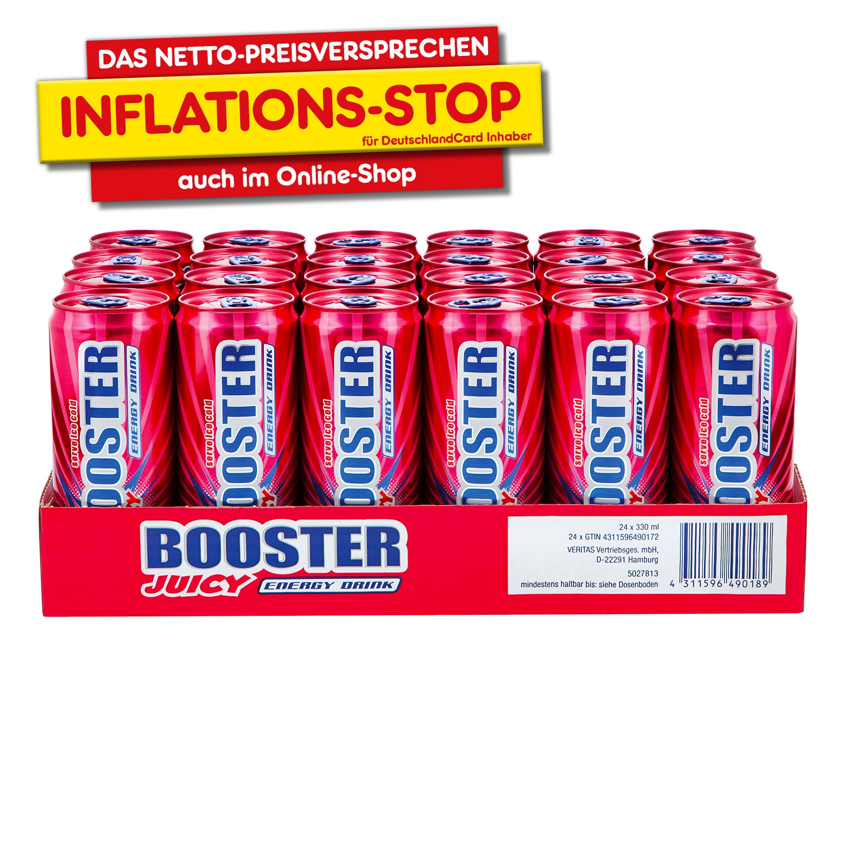 Booster Energy Drink Juicy 0,33 Liter Dose, 24er Pack von Booster