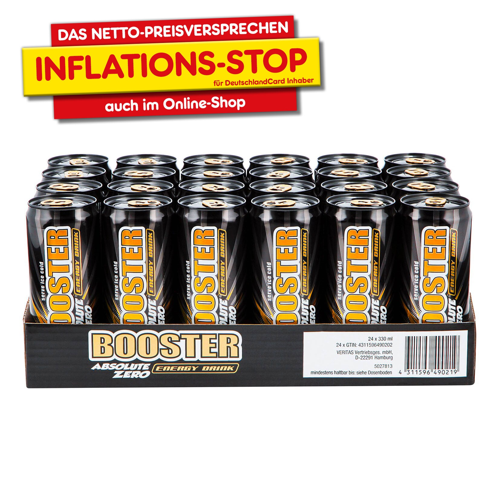 Booster Energy Drink Zero 0,33 Liter Dose, 24er Pack von Booster
