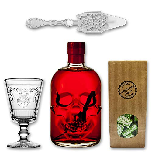 Absinth Red Chili 55% vol. + 1x Glas Versailles 20cl + 1x Löffel Antique + 1x Zuckerwürfel 130g von Cannax