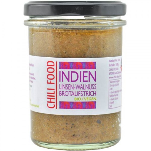 Brotaufstrich INDIEN Linsen-Walnuss vegan von Chili Food