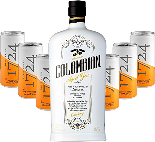 Gin Tonic Set - Dictador Premium Colombian Aged White Gin 70cl (43% Vol) + 6x 1724 Tonic Water 200ml Dosen inkl. Pfand -[Enthält Sulfite] von Dictador