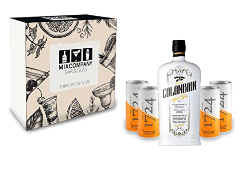 Gin Tonic Set Geschenkset - Dictador Premium Colombian Aged White Gin 70cl (43% Vol) + 4x 1724 Tonic Water Dose 200ml -[Enthält Sulfite] von Dictador