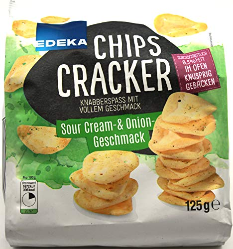 Edeka Chips Cracker Sour Cream & Onion Geschmack, 6er Pack (6 x 125g) von Edeka