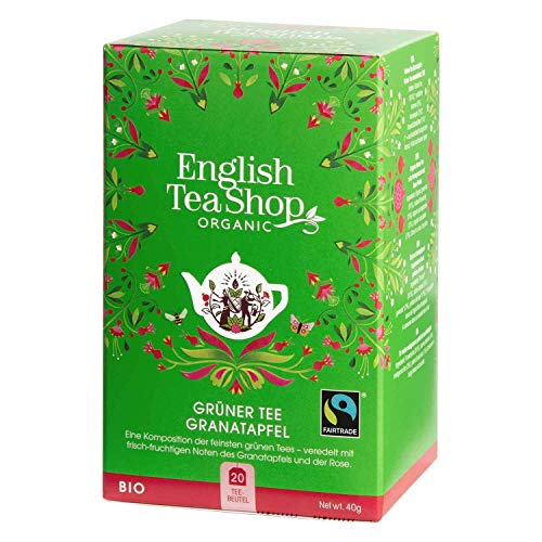 English Tea Shop - Grüner Tee Granatapfel, BIO Fairtrade, 20 Teebeutel von English Tea Shop