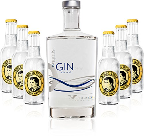 Gin Tonic Set - Organic Gin 0,7l 700ml (40% Vol) + 6x Thomas Henry Tonic Water 200ml inkl. Pfand MEHRWEG von Thomas Henry-Thomas Henry