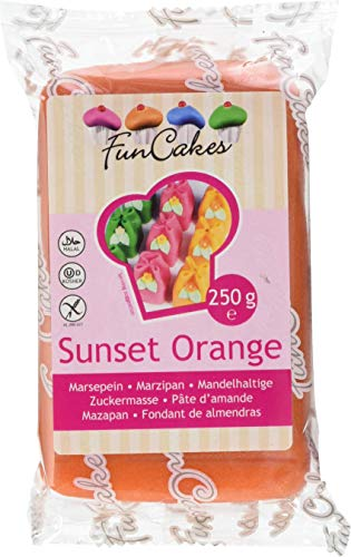 FunCakes mandelhaltige Zuckermasse Sunset Orange, 1er Pack (1 x 250 g) von FunCakes