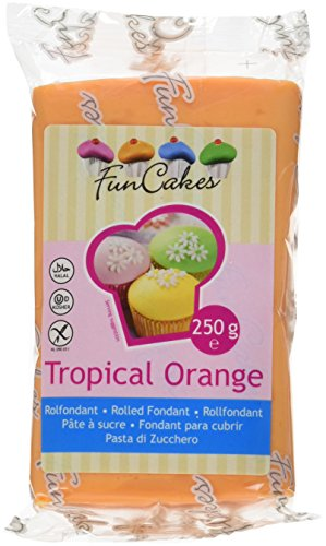 FunCakes Fondant -Tropical orange, 4er Pack (4 x 250 g) von FunCakes