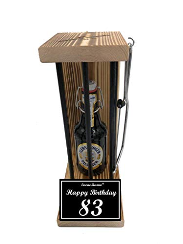 Happy Birthday 83 Geburtstag - Eiserne Reserve ® Black Edition Flensburger Pilsener 0,33L incl. Säge - 83 Geburtstag Geschenk Idee für Männer & Frauen Geschenke zum 83 Geburtstag von Genial-Anders