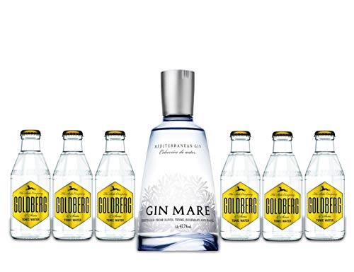 Gin Mare Gin Tonic Set - Gin Mare Gin 700ml (42,7% Vol) + 6 Goldberg Tonic Water 200ml von Gin Mare