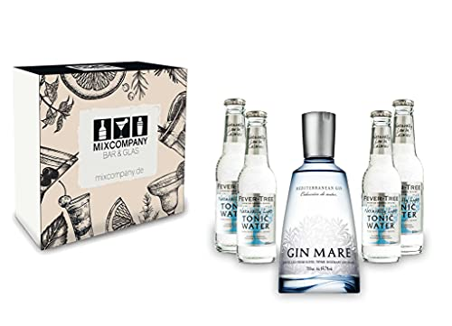 Gin Tonic Geschenkset - Gin Mare 50cl (42,7% Vol) + 4x Fever Tree Naturally Light Tonic Water 200ml -[Enthält Sulfite] von Gin Mare