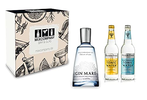 Gin Tonic Set Geschenkset - Gin Mare Mediterranean Gin 50cl (42,7% Vol) + 2x Fever Tree Tonic Water Mix je 500ml -[Enthält Sulfite] von Gin Mare