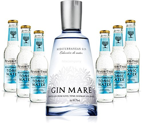 Gin Tonic Set - Gin Mare 50cl (42,7% Vol) + 6x Fever Tree Mediterranean Tonic Water 200ml -[Enthält Sulfite] von Gin Mare