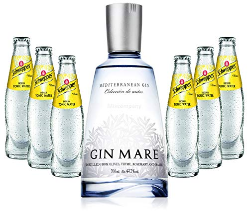 Gin Tonic Set - Gin Mare 70cl (42,7% Vol) + 6x Schweppes Tonic Water 200ml + Siegfried Gin mini 4cl (41% Vol) von Gin Mare