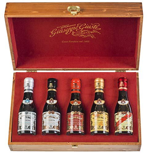 Gift packaging with pouch Wood - BOX with 5 Champagnottine of Balsamic Vinegar of Modena 100 ml von Giuseppe Giusti