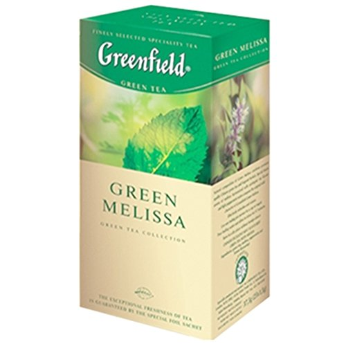 Greenfield Grüntee mit Melisse 3er Pack (3 x 25 Teebeutel ) Tee herbal Tea von Greenfield