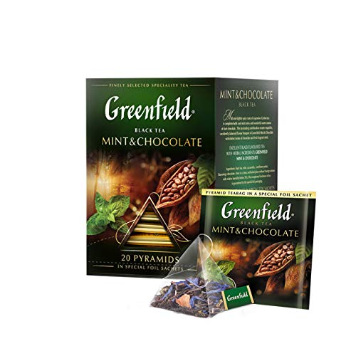 Greenfield Schwarztee Mint & Chocolate 2er Pack (2 x 20 Pyramidenbeutel) Tee black Pyramid Tea von Greenfield