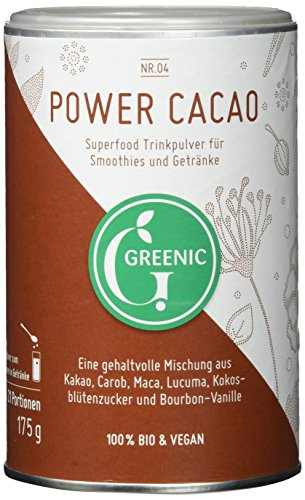 Greenic Power Cacao Superfood Trinkpulver Mischung, 1er Pack (1 x 175 g) von Greenic
