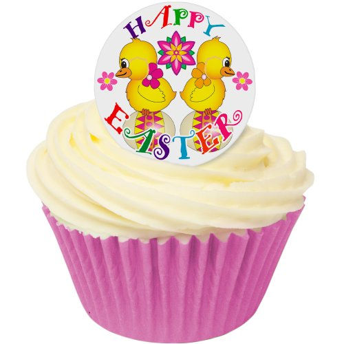 "12 Essbare Kuchendekorationen- ""Happy Easter"" Küken / 12 Edible Wafer Cake Decorations: Happy Easter Chicks von Holly Cupcakes"