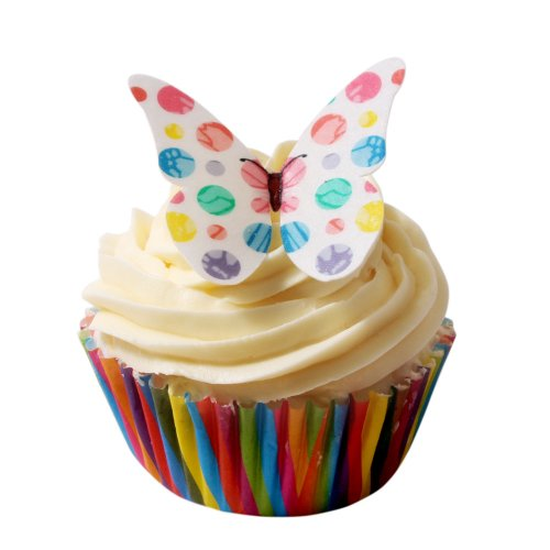 12 Pünktchen Design Essbare Schmetterlinge: Gemischte Farben/Edible Wafer Butterflies: Colourful Polka Dot von Holly Cupcakes