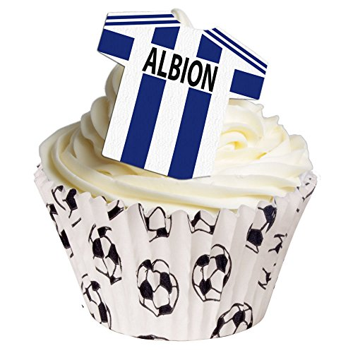12 X Zuckerfreie Tortendekorationen - (West Bromwich) Albion Fußball-Hemd Wafer Toppers von Holly Cupcakes