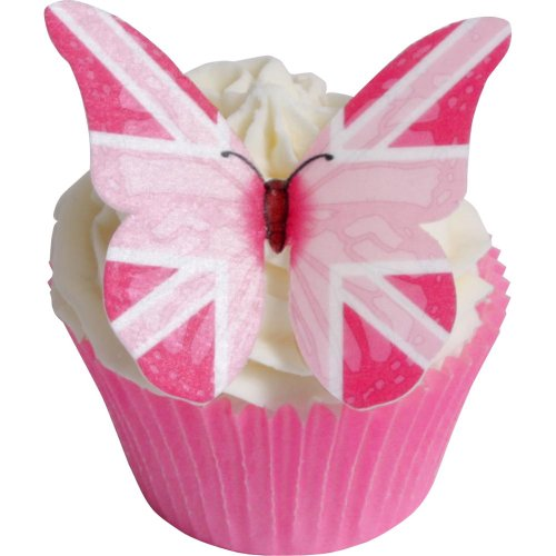 24 Pink Union Jack Flagge Essbare Oblaten Schmetterlinge / 24 Pink Union Jack Flag Butterflies von Holly Cupcakes