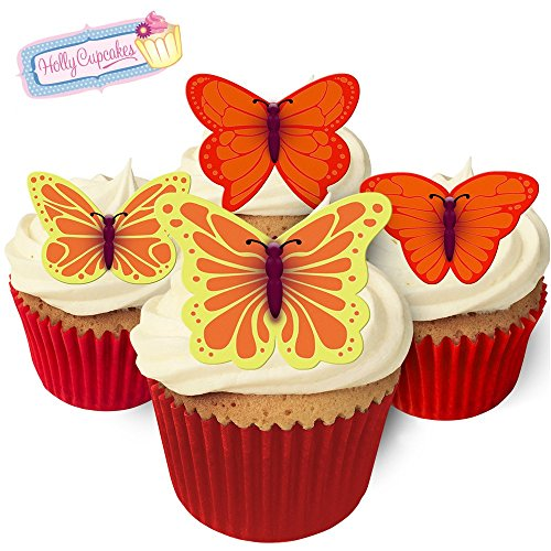 Essbare Kuchendekorationen- 12 Schmetterlinge: orange, gelb & rot / 12 Gorgeous Edible Butterflies: ORANGE, YELLOW & RED von Holly Cupcakes