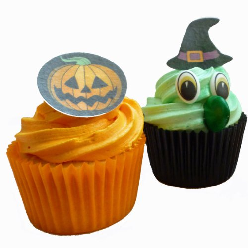Set to create 6 Halloween Wicked Witch Cupcakes and 12 Scary Edible Pumpkin Cake Toppers von Holly Cupcakes