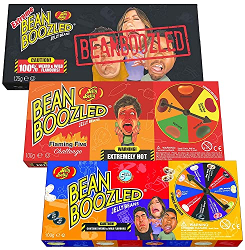 Jelly Belly Bean Boozled Set Glücksrad + Flaming Five scharfe Edition und Extreme Special Edition 2x 100g und 1x 125g von Jelly Belly Bean Boozled