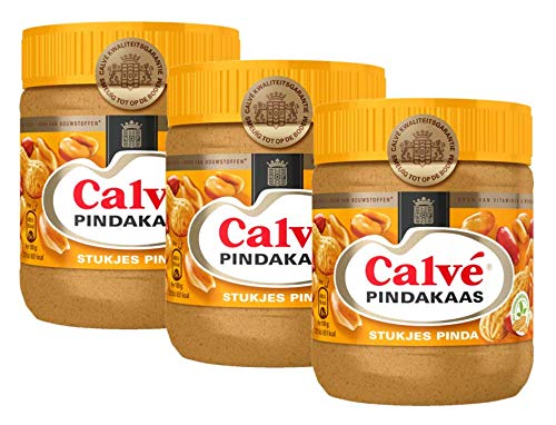 Calve Pindakaas met Noot (Peanut Butter with Chunks of Nuts) 3 Jars x ea 12.3oz/350gr by Calve von Calvè