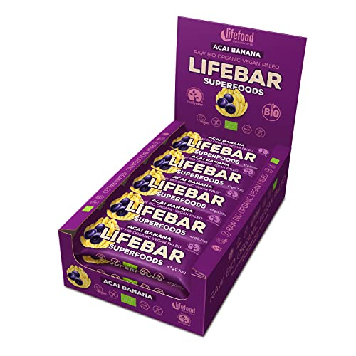 Lifefood Lifebar Plus Organic Vegan Superfood Bar-15 x 47g-Acai Banana (Acai Banane) von Lifebar
