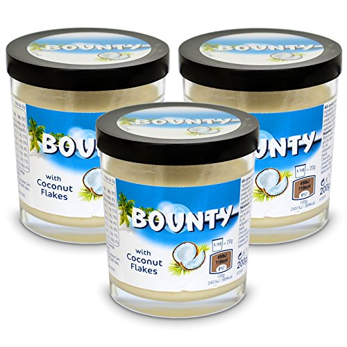 3x Bounty Milk Spread with Coconut Flakes Brotaufstrich 200g von MARS