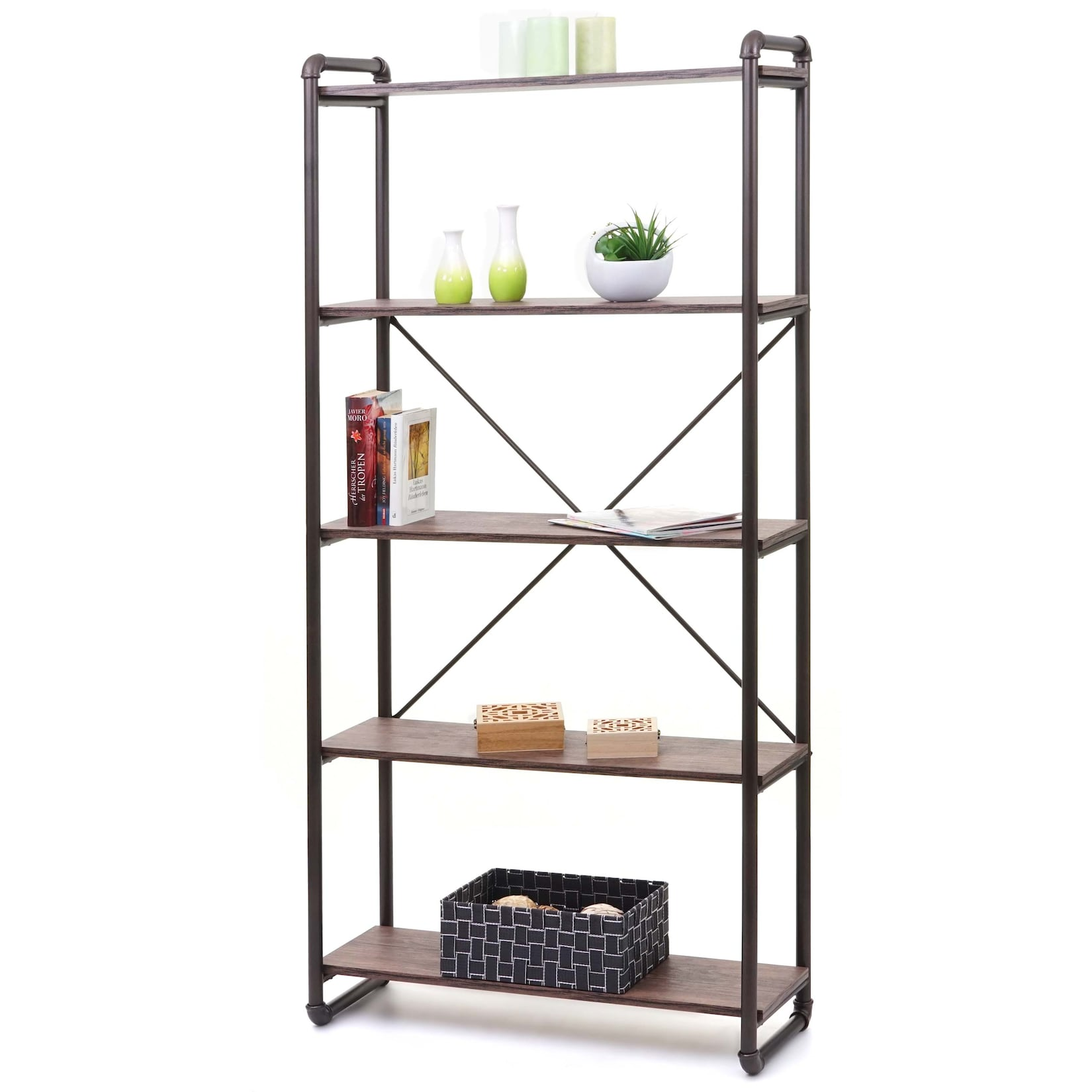 Bücherregal MCW-F58, Standregal Wohnregal, Industriedesign 165x80cm 3D-Struktur ~ braun Wildeiche-Optik von MCW