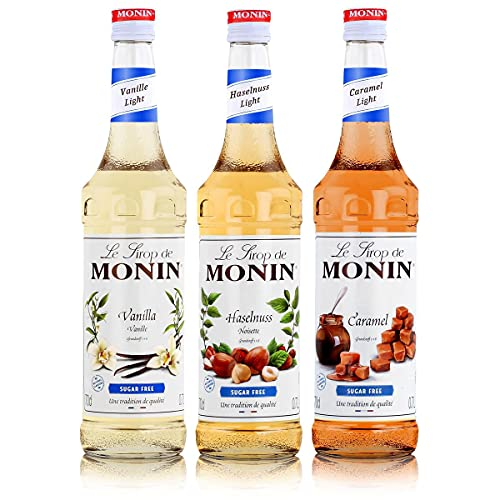 Monin Light Set (3 x 0.7l Flaschen: Vanille Light, Caramel Light, Haselnuss Light) von MONIN