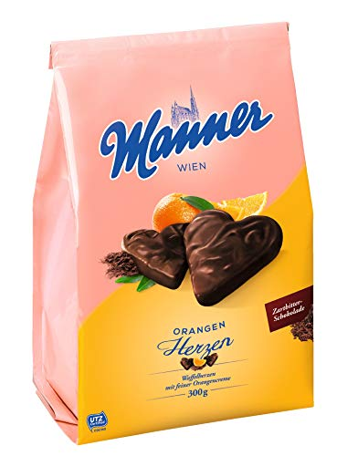 Manner Waffelherzen Orangencreme, 10er Pack (10 x 300 g) von Manner